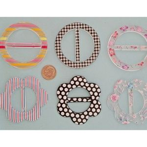 Accessories - T-Shirt Buckle Slide Assorted Prints & Shapes 6pc
